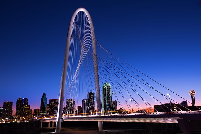 500px Photo ID: 96184399 - View of Margaret Hunt Hill Bridge at dawn with Dallas skyline in background.