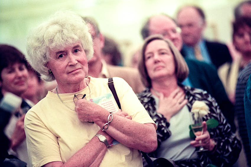 Welsh author Jan Morris pictured at the 1998 Hay Festival Hay on Wye Powys Wales UK