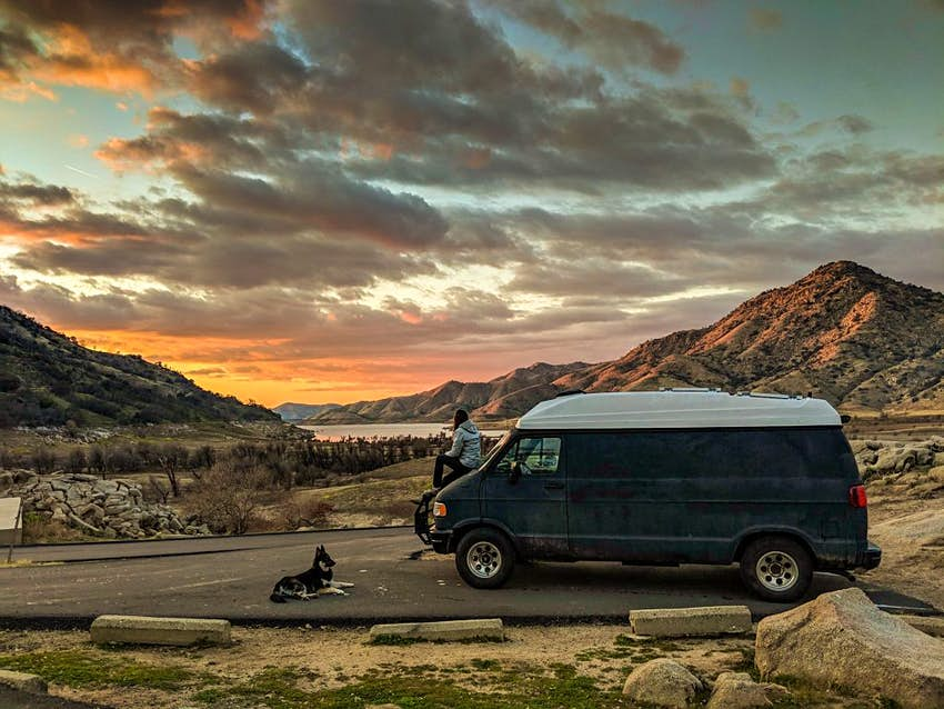 A camper van parked at a viewpoint in California