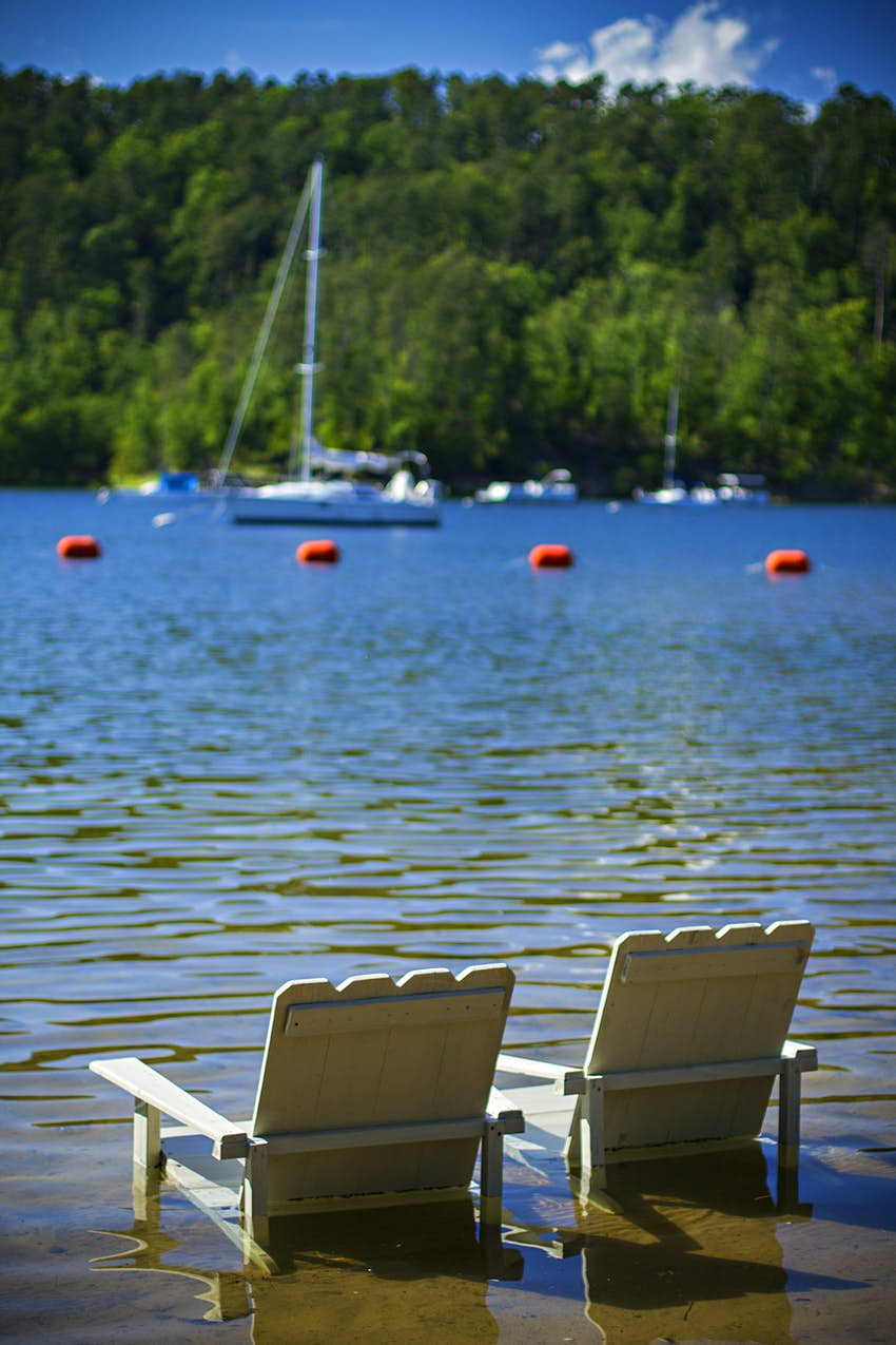 Chairs in the water at Lake Ouachita, Arkansas