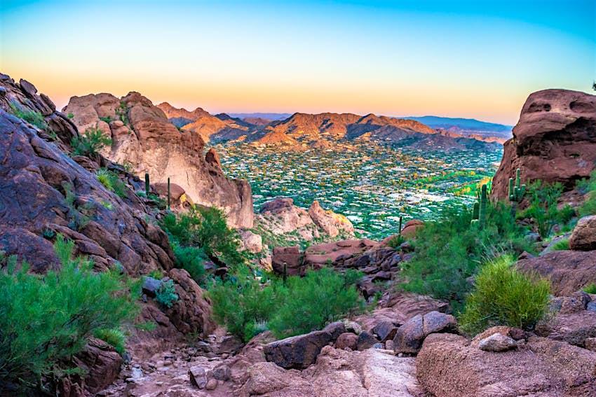 Colorful Sunrise on Camelback Mountain in Phoenix, Arizona