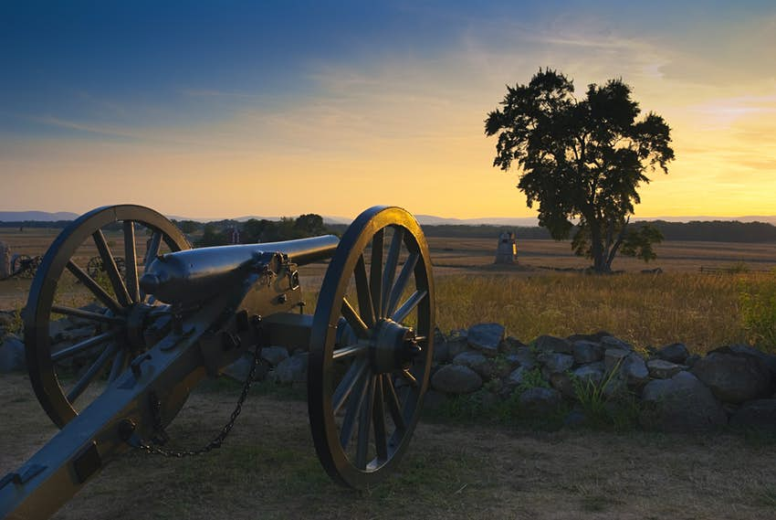 A cannon at Gettysburg Battlefield in Pennsylvania