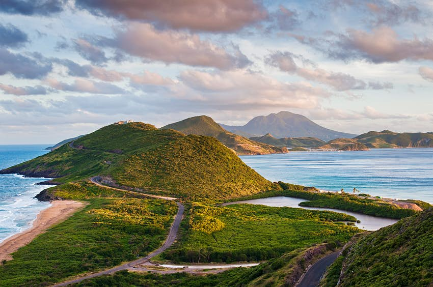 Wide shot of the lush green island of Nevis