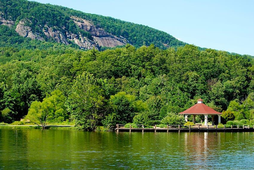 Gazebo and forest on the shore of Lake Lure, North Carolina