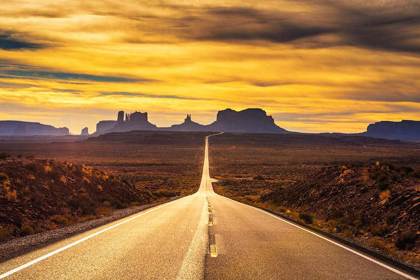 An empty road through the Arizona desert