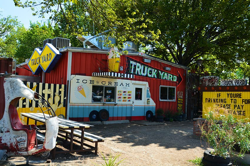 The Truck Yard in the Dallas Lower Greenville neighborhood serves ice cream in the summer in addition to having food trucks and live music in the back
