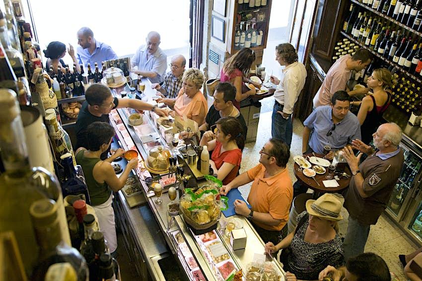 People at Quimet i Quimet tapas bar, Barri Gotic.