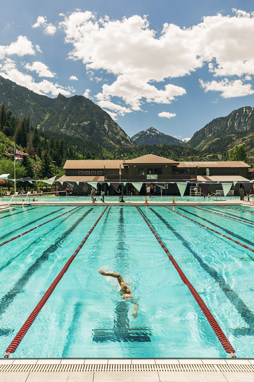 A lap swimmer at Ouray Hot Springs in Ouray, Colorado