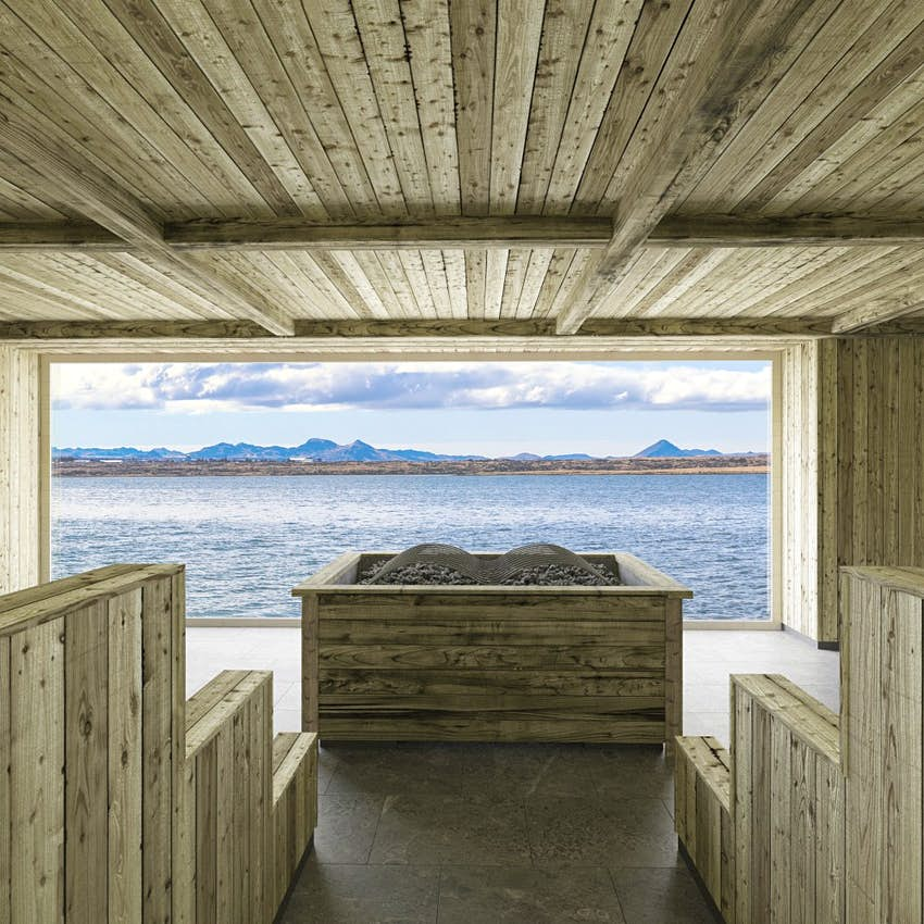 A sauna overlooking the sea at Sky Lagoon