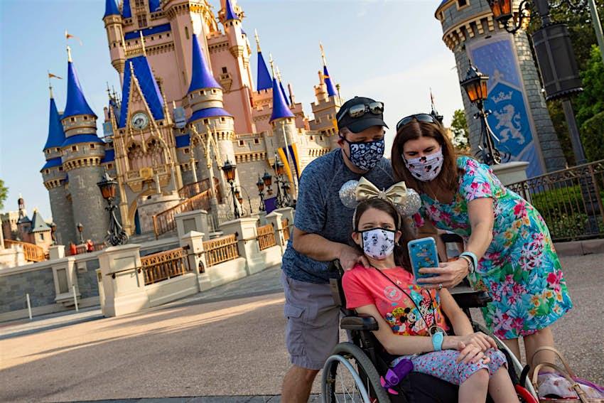 A family taking a selfie at Walt Disney World