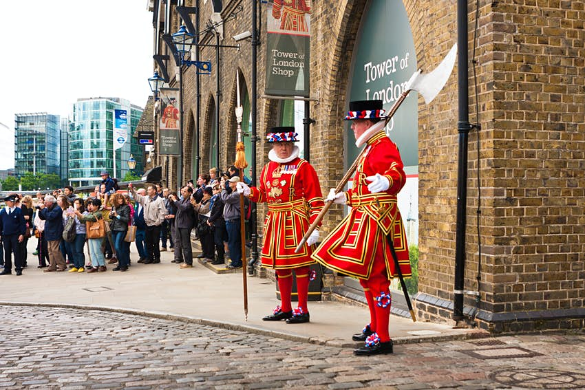 May 23, 2014: Yeomen Warders in uniform outside the Tower of London.