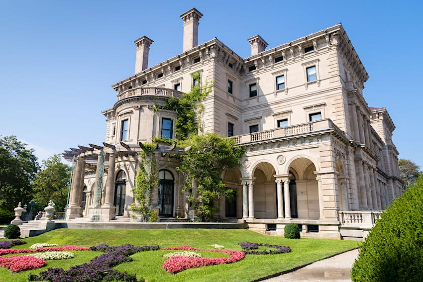 Exterior of the Breakers mansion in Newport, Rhode Island