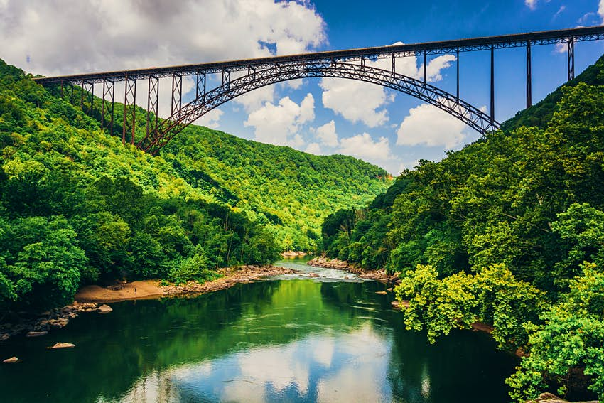 The New River Gorge Bridge, as seen from Fayette Station Road.