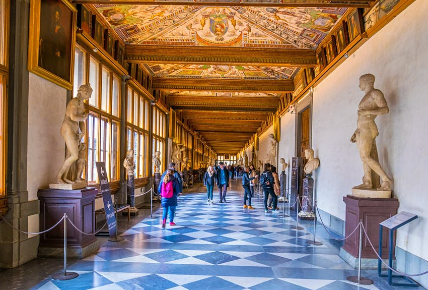 Detail of a corridor at the Uffizi Gallery in Florence