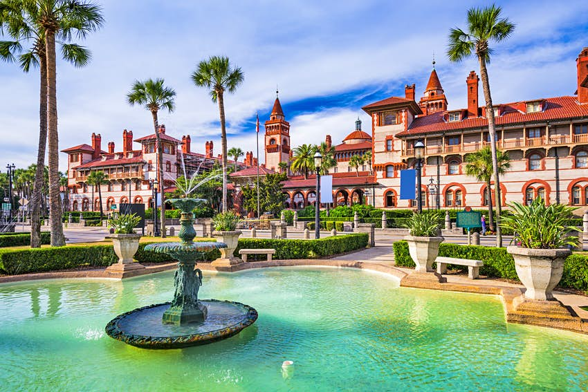 The courtyard of Flagler College designed in Spanish Renaissance style in St. Augustine, Florida