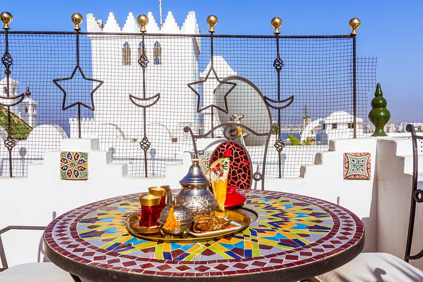 Tea service on a terrace in the kasbah of Tangier