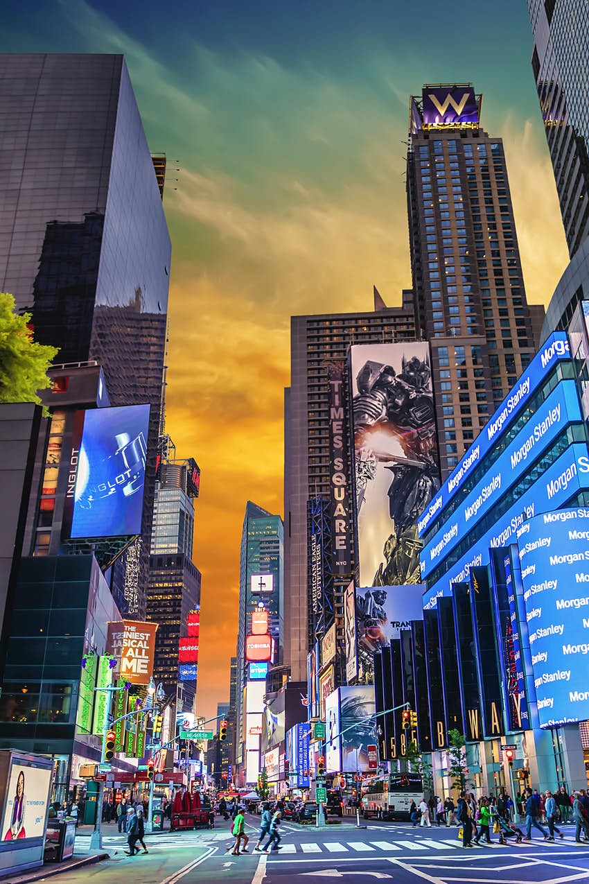 Advertisements in Times Square at sunset