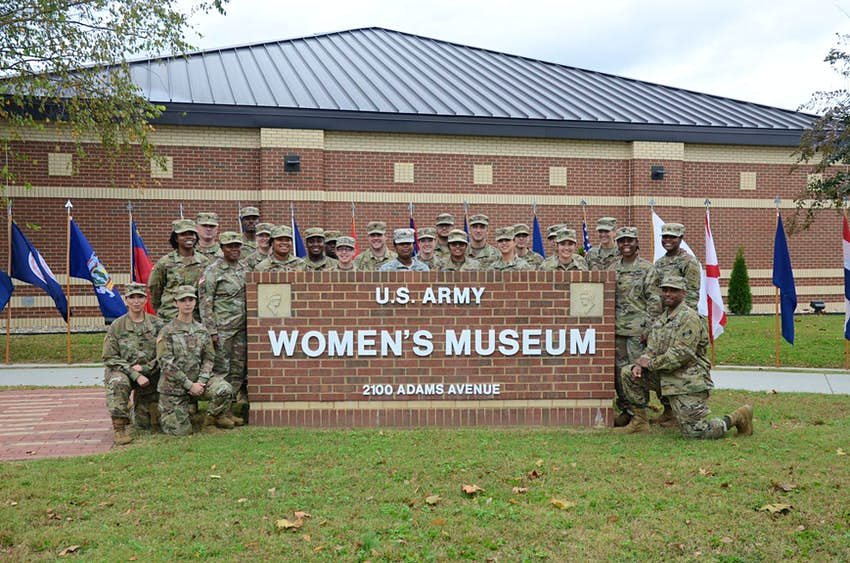 A group of Maryland Army National Guard soldiers attended the reopening of the Army Women?s Museum, Fort Lee, Virginia, Nov. 2, 2018. The museum has approximately 50,000 visitors each year and the reopening ceremony marked one year of renovations that dou