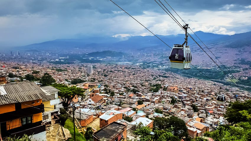 Metro lines at Medellin Colombia