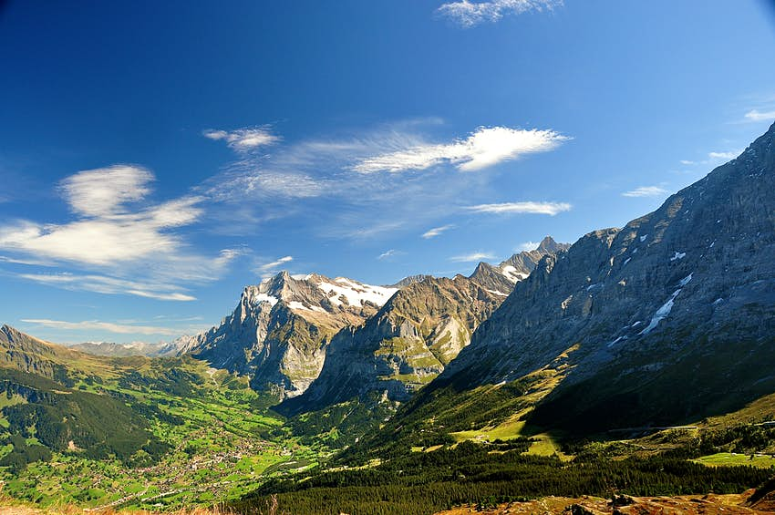 Wide shot of the mountains in the Swiss Alps