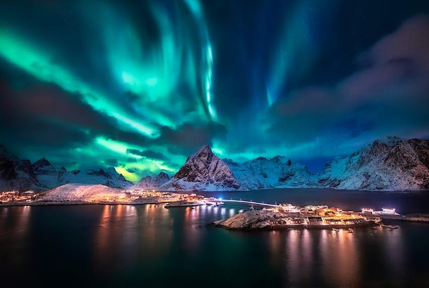 Aurora borealis seen over the Lofoten Islands in Norway