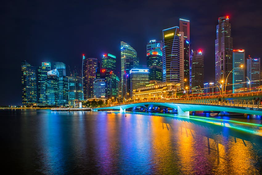 A picture of the Singapore skyline at night