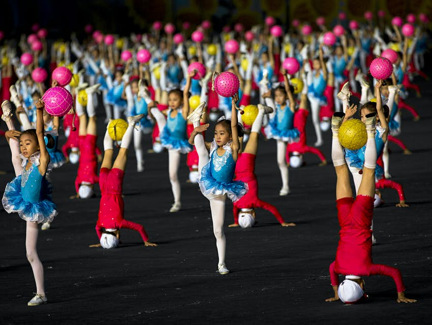 Children dancing in a performance