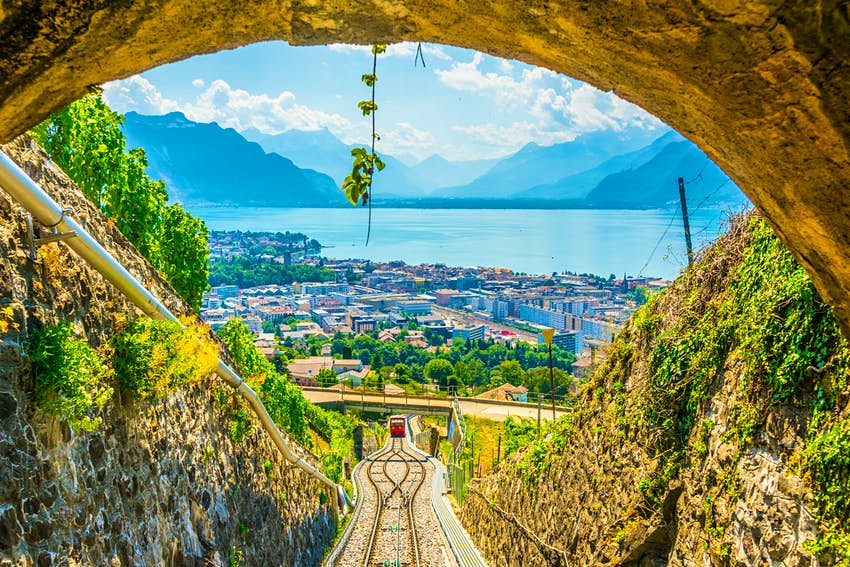 Vevey and lake Geneva, as seen from the funicular ascending to Mont Pelerin.
