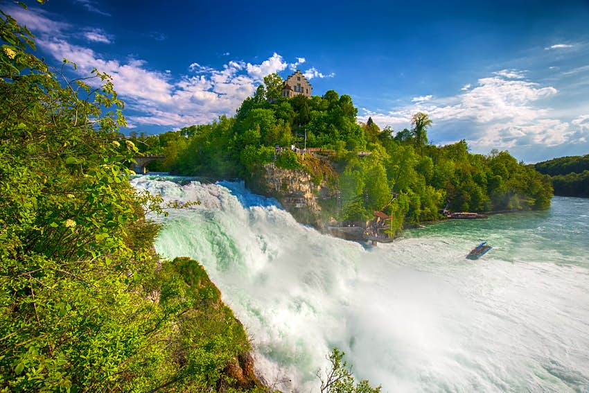 View to Rhine falls (Rheinfalls), the largest plain waterfall in Europe.