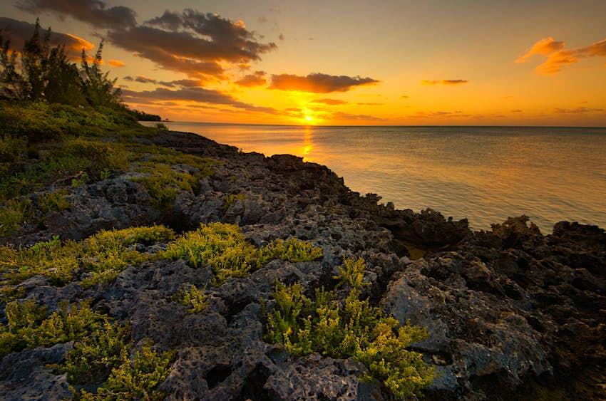 Sunrise over the sea in Nassau, Bahamas