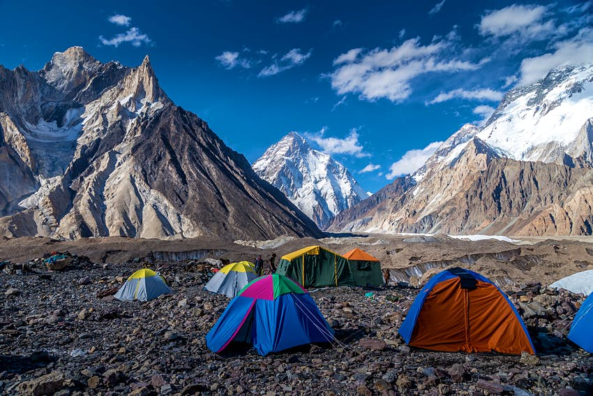 The night before reaching base camp, hikers spend the night in one of the most breathtaking campsites on the planet