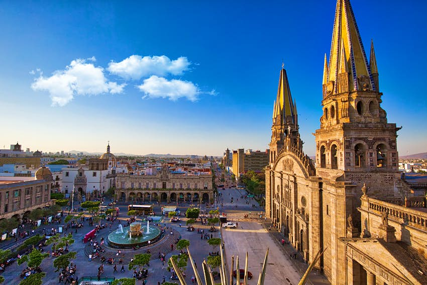 Aerial view of the Cathedral against a clear blue sky in Guadalajara, Mexico