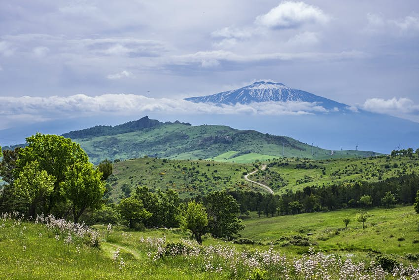 View of Mount Etna from Nebrodi National Park