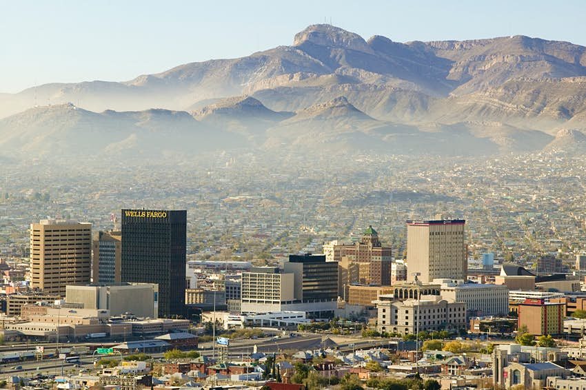 Panoramic view of skyline El Paso Texas looking toward Juarez, Mexico.