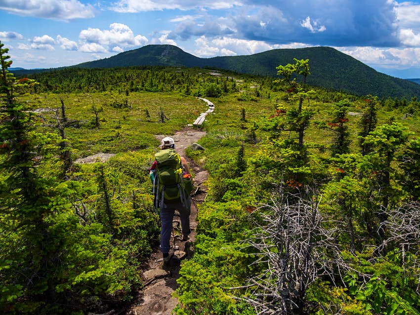 Hiker on the Appalachian Trail in Maine