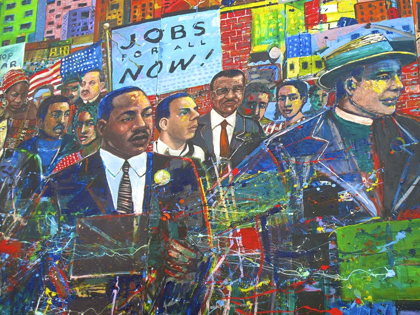A Martin Luther King Jr. mural at the National Historic Site in Atlanta