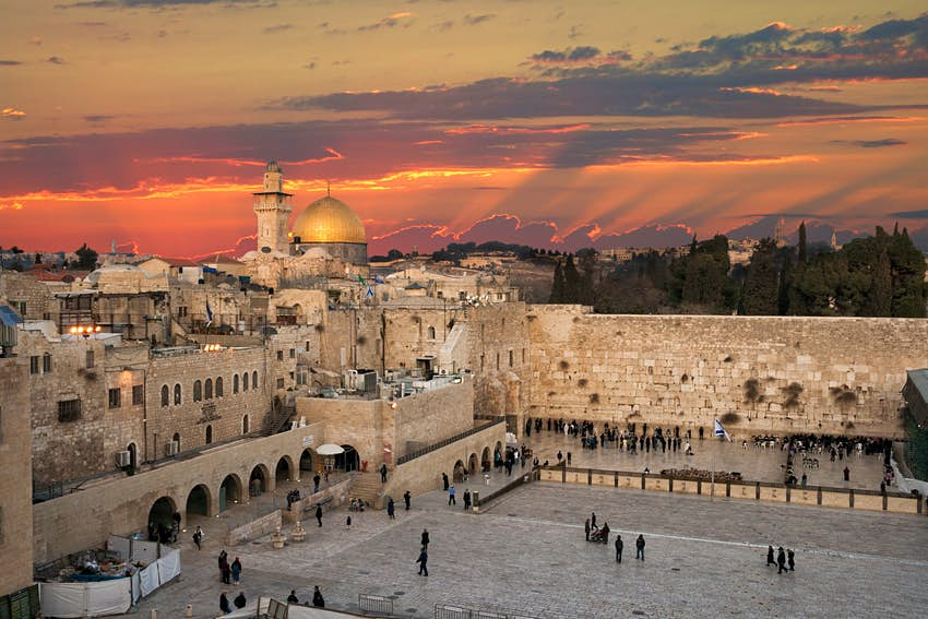 High-angle view of Jerusalem's Western Wall at the Dome of the Rock during sunset