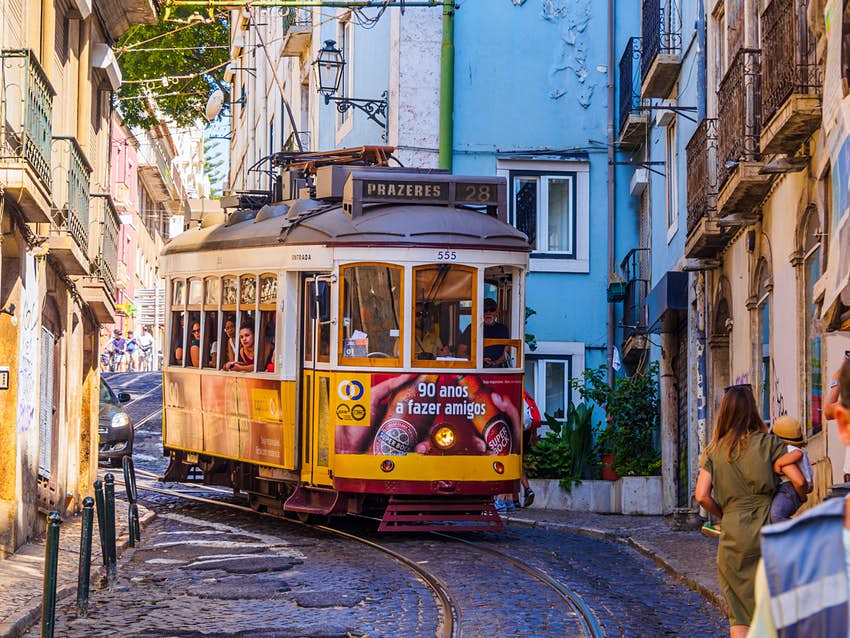 Street car in the narrow streets of Lisbon