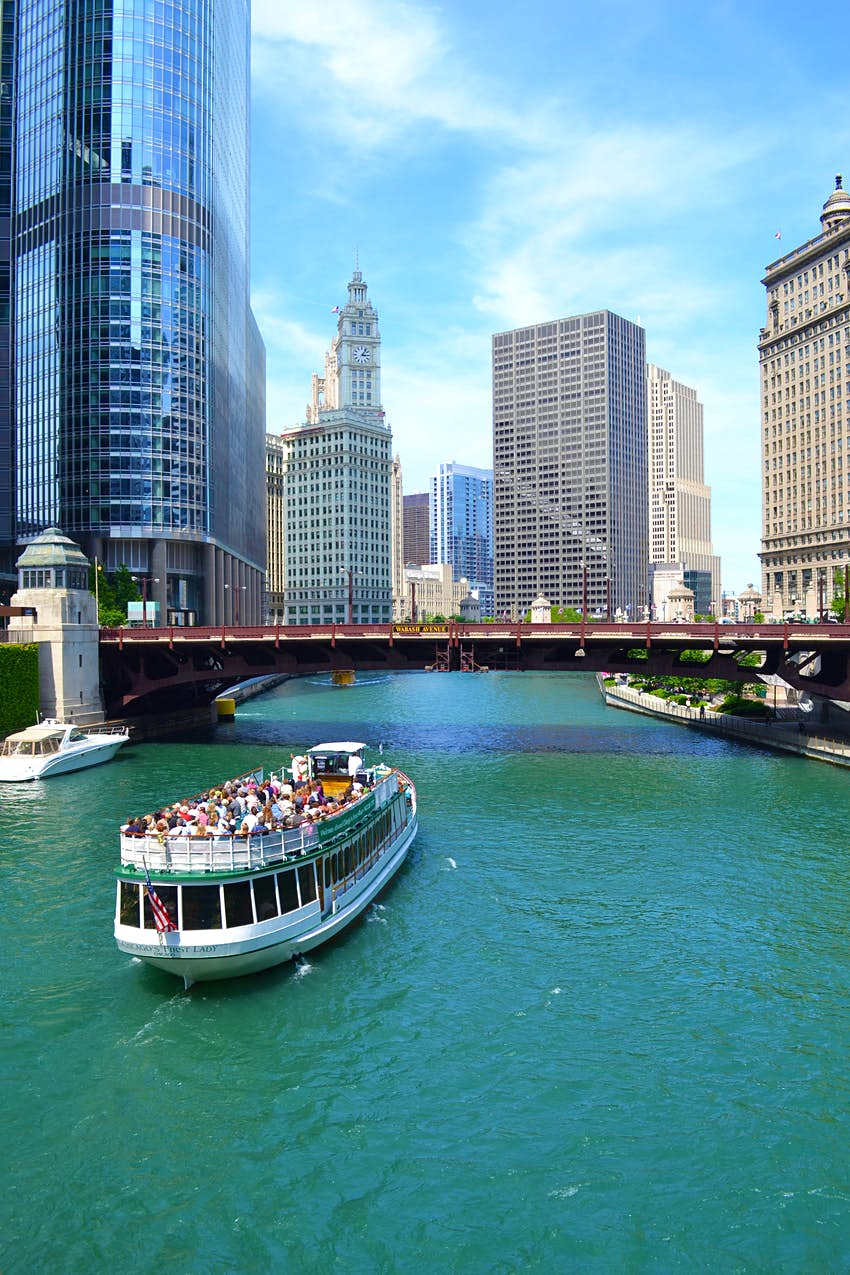 Chicago's First Lady, a Chicago River cruise boat, travels towards Lake Michigan during a 75-minute guided architectural tour