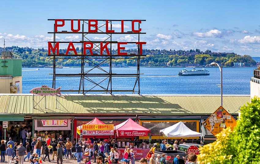 People shopping at Pike Place Market in Seattle, Washington