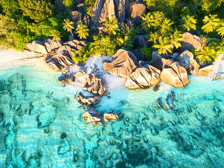Anse Source d'Argent beach, Seychelles, Aerial drone photo