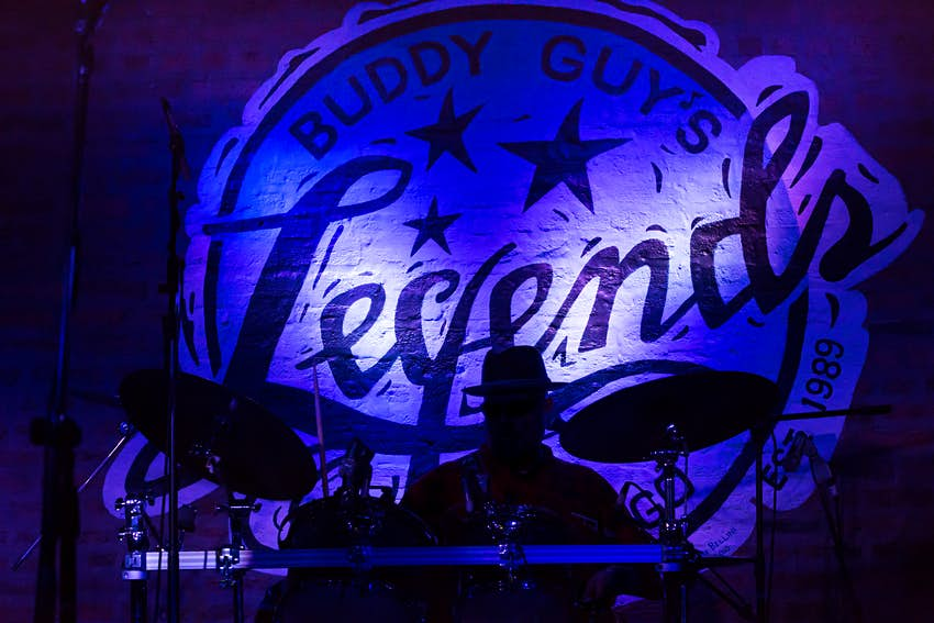 A drummer on stage at Buddy Guy's Legends jazz club in Chicago, Illinois