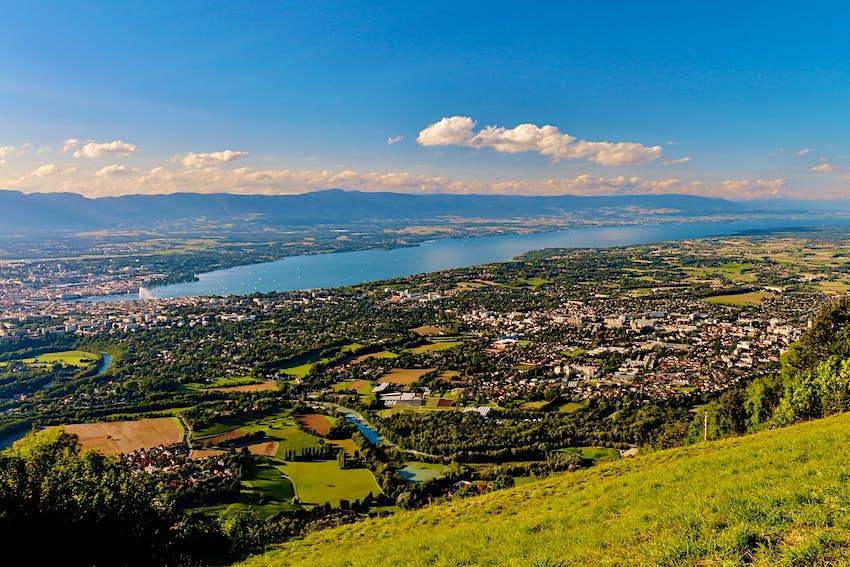 Townscape with lush foliage on sunny day, Geneva