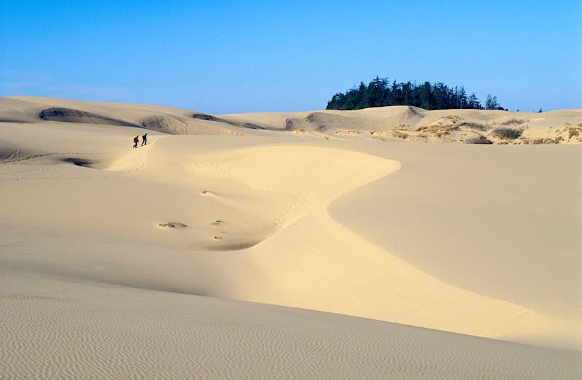 Wanderer in den Umpqua Sand Dunes im Oregon Dunes National Recreation Area an der zentralen Küste von Oregon