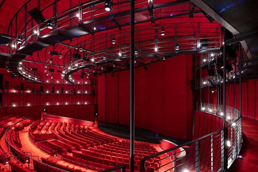 The interior of the David Geffen Theater at the Academy Museum in LA