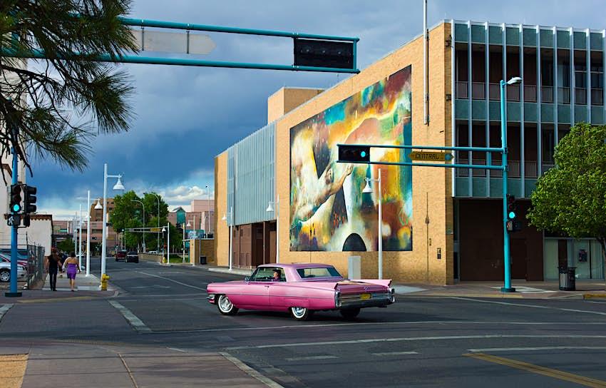 U.S.A. New Mexico, Albuquerque, murals along the Route 66