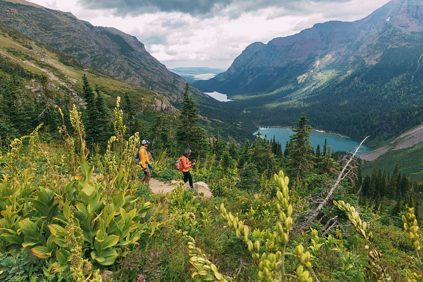 Couple hiking in Glacier National Park, Montana