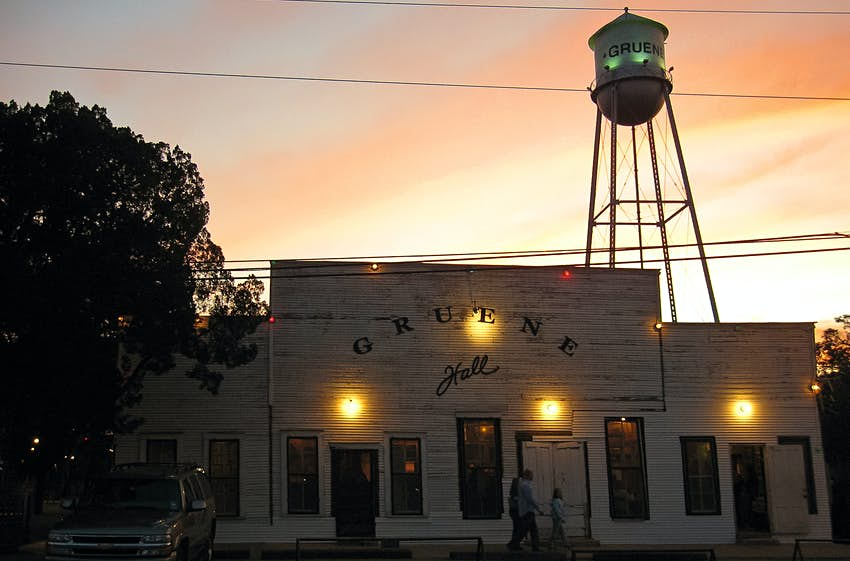 Sunset behind Gruene Hall in Gruene, Texas