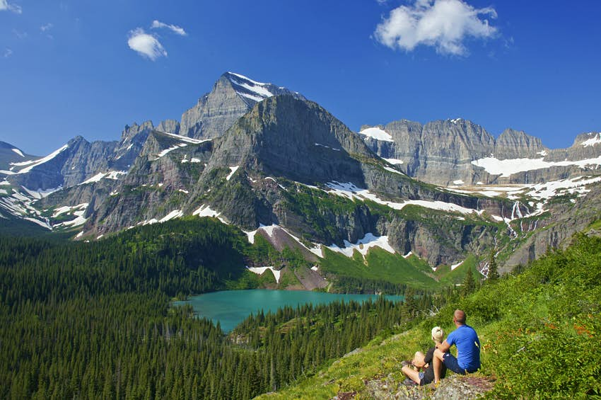 Couple enjoying the view in Glacier National Park