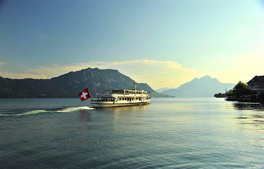 Paddle steamer ship on Lake Lucern